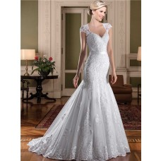 Mermaid Queen Anne Neckline Cap Sleeve Sheer Back Lace Wedding Dress With Sash