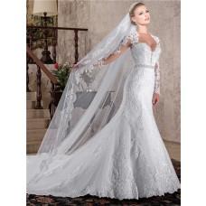 Mermaid Queen Anne Neckline Long Sleeve Sheer Back Lace Beaded Wedding Dress