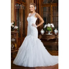 Mermaid Round Neck Sheer Back Sleeveless Tulle Lace Wedding Dress