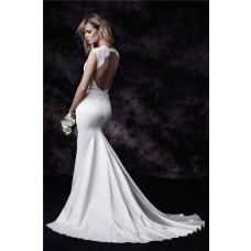 Mermaid Scalloped Neck Cap Sleeve Open Back Vintage Lace Satin Wedding Dress