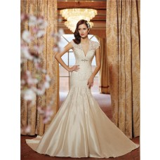 Mermaid Scalloped V Neck Cap Sleeve Open Back Lace Taffeta Wedding Dress With Crystals