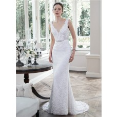 Mermaid Scoop Neck Low Back Lace Wedding Dress With Crystals Belt