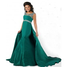 Mermaid Scoop Neck Open Back Green Taffeta Beaded Teen Prom Dress Detachable Skirt