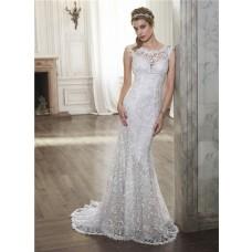 Mermaid Scoop Neck See Through Back Venice Lace Wedding Dress