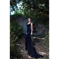 Mermaid Scoop Neck Side Cut Out Navy Chiffon Special Occasion Evening Dress