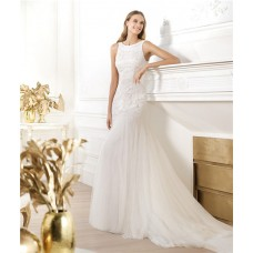 Mermaid Scoop Neck Sleeveless Open Back Tulle Wedding Dress With Embroidery Beading