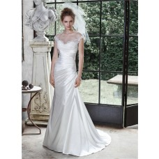 Mermaid Sheer Bateau Neck See Through Back Cap Sleeve Satin Draped Wedding Dress