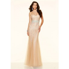 Mermaid Sheer Illusion Neckline Champagne Tulle Unusual Beaded Prom Dress