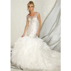Mermaid Sheer Illusion Neckline Layered Tulle Beaded Wedding Dress Keyhole Open Back