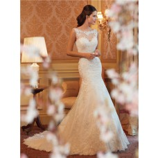 Mermaid Sheer Tulle Bateau Neckline Deep V Back Lace Beaded Wedding Dress With Buttons