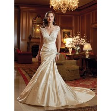 Mermaid Sheer V Neck Cap Sleeve Illusion Back Draped Satin Wedding Dress With Buttons