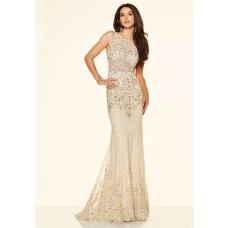 Mermaid Sleeveless Open Back See Through Champagne Lace Beaded Prom Dress