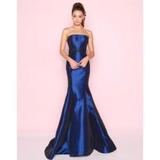 Mermaid Strapless Beaded Belt Royal Blue Taffeta Evening Prom Dress