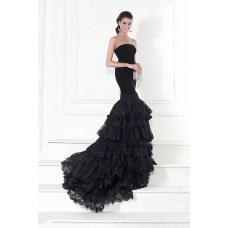 Mermaid Strapless Black Satin Lace Ruffle Tiered Prom Dress