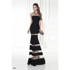 Mermaid Strapless Black Satin Tulle Tiered Evening Prom Dress