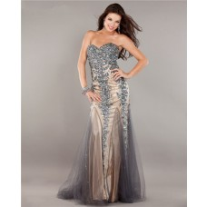 Mermaid Strapless Champagne Satin Grey Tulle Lace Beaded Prom Dress