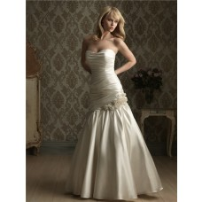 Mermaid Strapless Corset Back Ruched Satin Wedding Dress With Flower