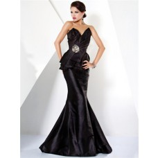 Mermaid Strapless Long Black Haute Couture Evening Dress With Crystals