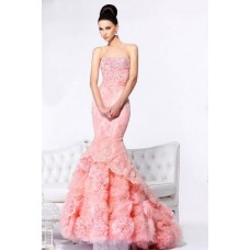 Mermaid Strapless Long Pink Organza Floral Lace Beaded Prom Dress With Flowers