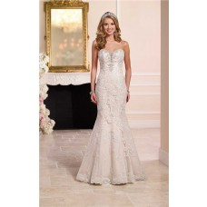 Mermaid Strapless Plunging Sweetheart Neckline Lace Crystal Wedding Dress