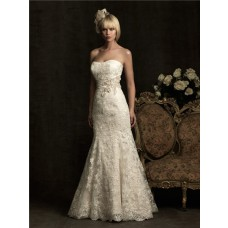 Mermaid Strapless Scoop Neck Ivory Lace Wedding Dress With Belt Buttons