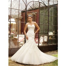 Mermaid Strapless Sweetheart Ruched Organza Lace Wedding Dress With Chapel Train