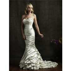 Mermaid Sweetheart Asymmetrical Ruched Ivory Taffeta Wedding Dress Lace Up Back