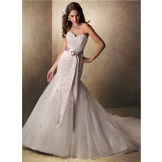 Mermaid Sweetheart Beaded Lace Tulle Wedding Dress With Crystal Bow Sash