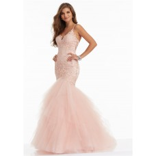 Mermaid Sweetheart Blush Pink Lace Tulle Layered Prom Dress With Spaghetti Straps