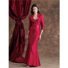 Mermaid Sweetheart Burgundy Satin Mother Of The Bride Evening Dress With Bolero Jacket