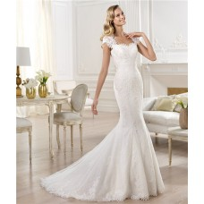 Mermaid Sweetheart Cap Sleeve Sheer Back Lace Wedding Dress With Buttons