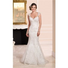 Mermaid Sweetheart Cap Sleeves Backless Lace Beaded Wedding Dress