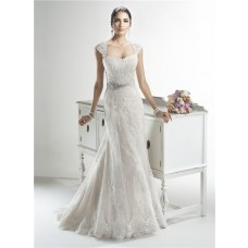 Mermaid Sweetheart Detachable Cap Sleeve Lace Wedding Dress With Crystals Sash