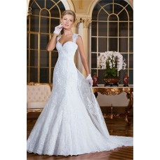 Mermaid Sweetheart Detachable Train Vintage Lace Wedding Dress With Sash