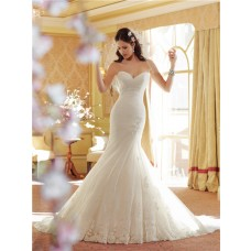 Mermaid Sweetheart Dropped Waist Corset Back Lace Tulle Wedding Dress With Pleating
