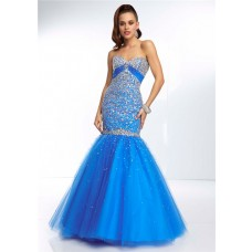 Mermaid Sweetheart Empire Waist Open Back Long Blue Tulle Beaded Prom Dress