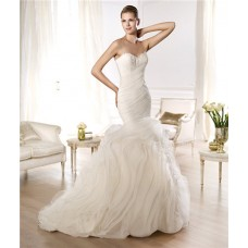 Mermaid Sweetheart Feather Neckline Criss Cross Pleated Organza Wedding Dress With Ruffles