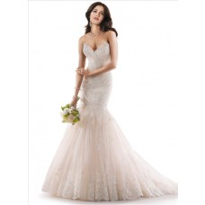 Mermaid Sweetheart Fit And Flare Ivory Lace Wedding Dress With Fishtail Train