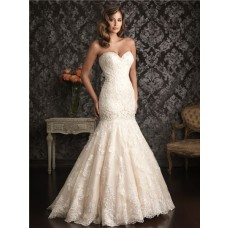 Mermaid Sweetheart Ivory Lace Dropped Waist Wedding Dress With Train