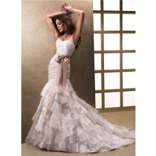 Mermaid Sweetheart Layered Ruffled Organza Wedding Dress With Ribbon Brooch Belt