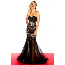 Mermaid Sweetheart Long Black Tulle Lace Beaded Occasion Evening Prom Dress