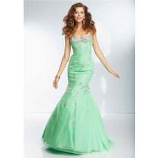 Mermaid Sweetheart Long Green Organza Glitter Beaded Prom Dress Corset Back
