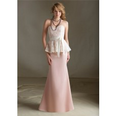 Mermaid Sweetheart Long Light Pink Satin Lace Peplum Bridesmaid Dress With Sash