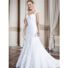 Mermaid Sweetheart Low Back Cap Sleeve Straps Vinatge Lace Wedding Dress