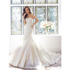 Mermaid Sweetheart Neckline Draped Organza Lace Beaded Corset Wedding Dress Detachable Train