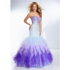 Mermaid Sweetheart Purple Blue Multi Color Tulle Ruffle Prom Dress Ombre Beading