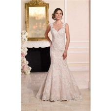 Mermaid Sweetheart Sheer See Through Back Lace Wedding Dress With Straps Buttons