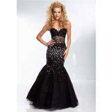 Mermaid Sweetheart Sheer See Through Corset Long Black Tulle Beaded Prom Dress