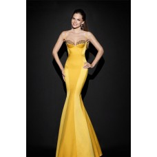 Mermaid Sweetheart Spaghetti Strap Open Back Yellow Satin Evening Prom Dress With Bow