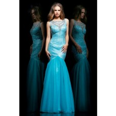 Mermaid Trumpet Bateau Neckline Sheer Back Long Turquoise Sequined Organza Prom Dress